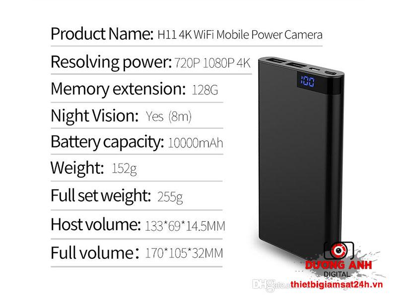 Camera 4k Wifi ngụy trang sạc dự phòng 10.000Mah H11