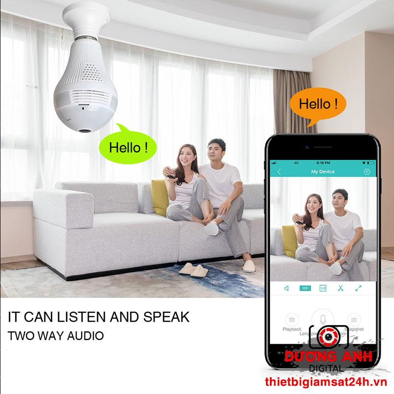 Camera ngụy trang bóng đèn Panorama 360 Full HD Wifi JW-DP313
