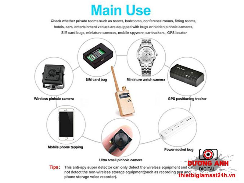Máy giúp người dùng phát hiện ra nhiều loại thiết bị theo dõi khác nhau