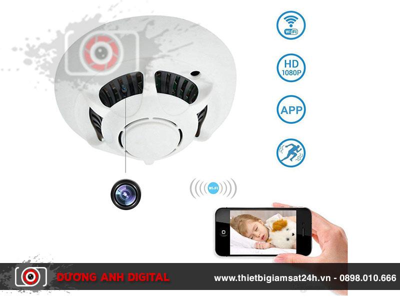 Camera ngụy trang đầu báo khói - Mini Nanny Cam WiFi HD 1080p