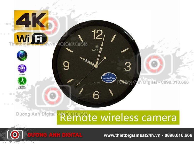 Camera 4K Wifi ngụy trang đồng hồ treo tường KASHI (Black)
