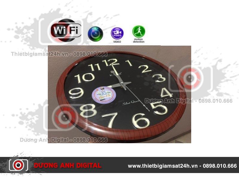 Camera 4K ngụy trang đồng hồ dạ quang treo tường KASHI (Brown)