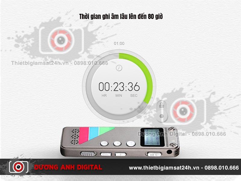 Máy ghi âm cho phép sử dụng dễ dàng với thời gian ghi âm liên tục