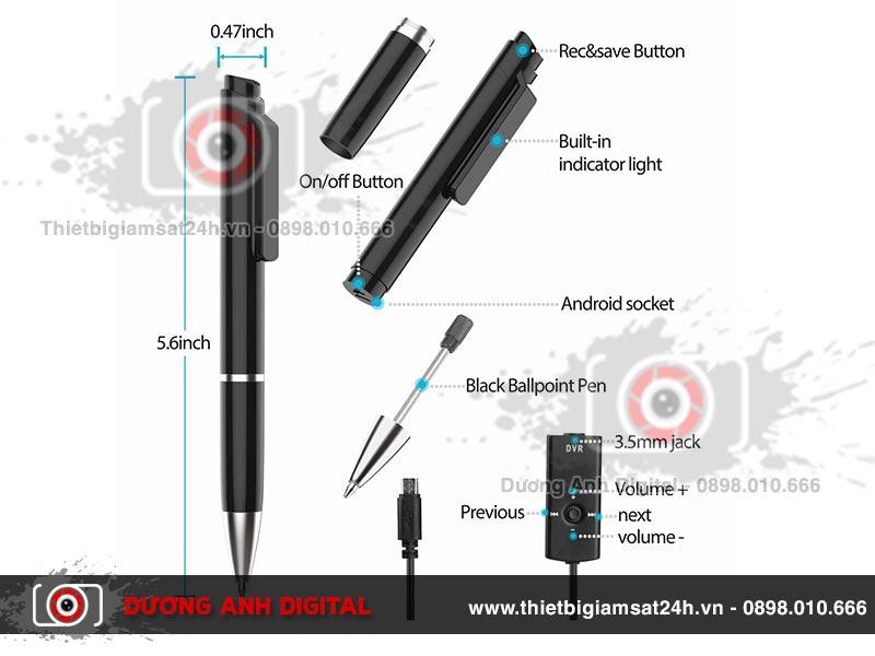 Bút ghi âm được thiết kế với nhiều chi tiết ấn tượng
